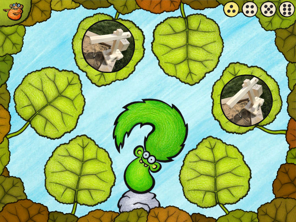 Train kids' memory in this game. Find pairs of talking images hidden under the leave.
