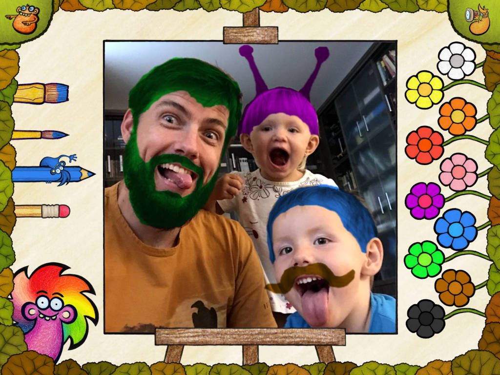 Paint wild colors over custom images of your family members. Develop imagination and train motor skills.